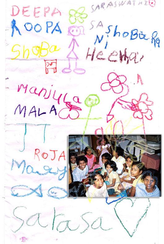 kids drawing at adoption center, bangalore, india