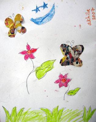 Drawing by Akhila, a girl child affected by HIV