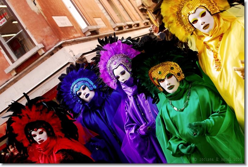 multicolored masks at carnivale venezia