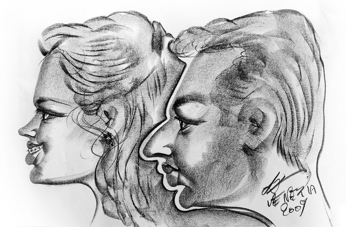 venice caricature of sarah and rocksea, by lorenzo